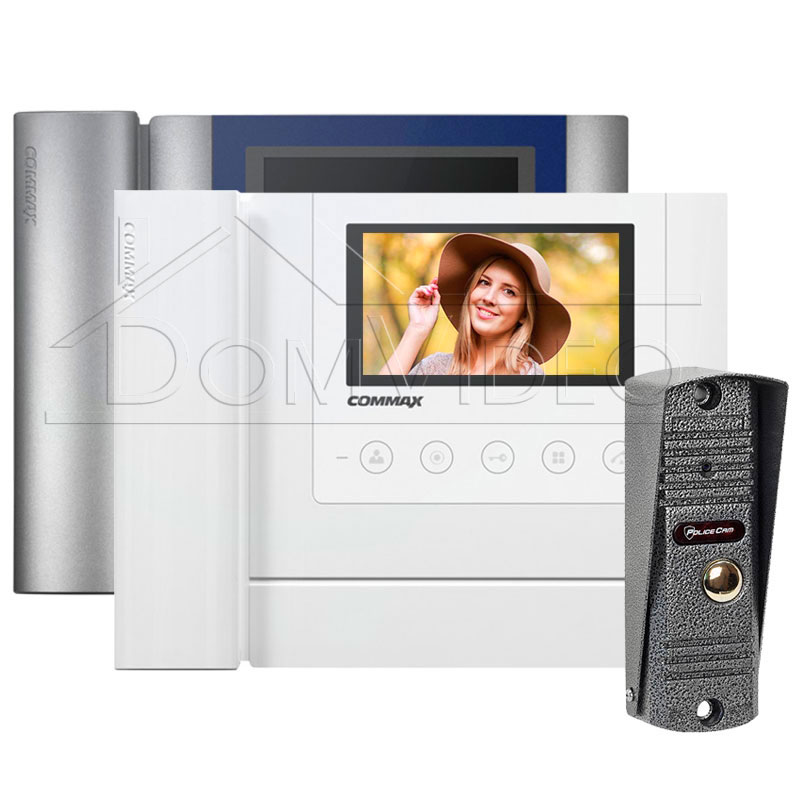 Картинка Комплект видеодомофона Commax CDV-43MH + PoliceCam PC-201